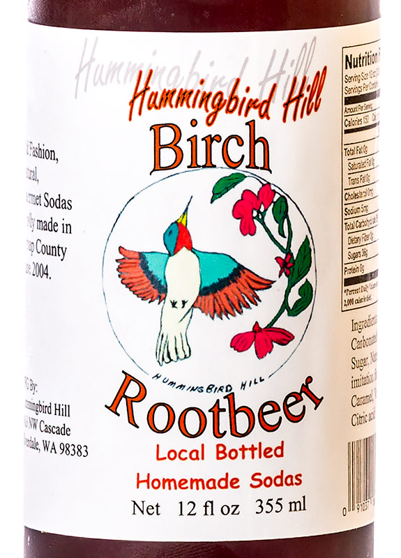 Hummingbird Hill Birch Rootbeer label